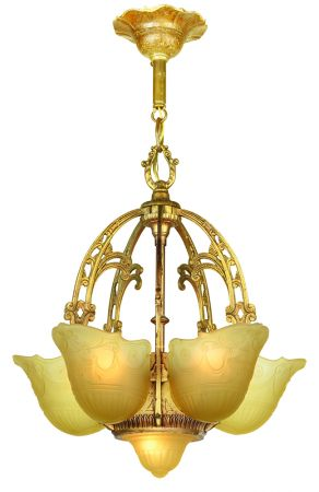 "Art Deco ""Top of the Line"" Slip Shade Chandelier (ANT-904)"
