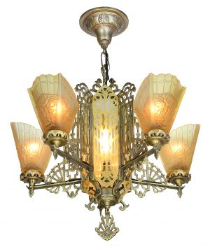 Art Deco Slip Shade Chandelier with etched glass center panels (ANT-905)