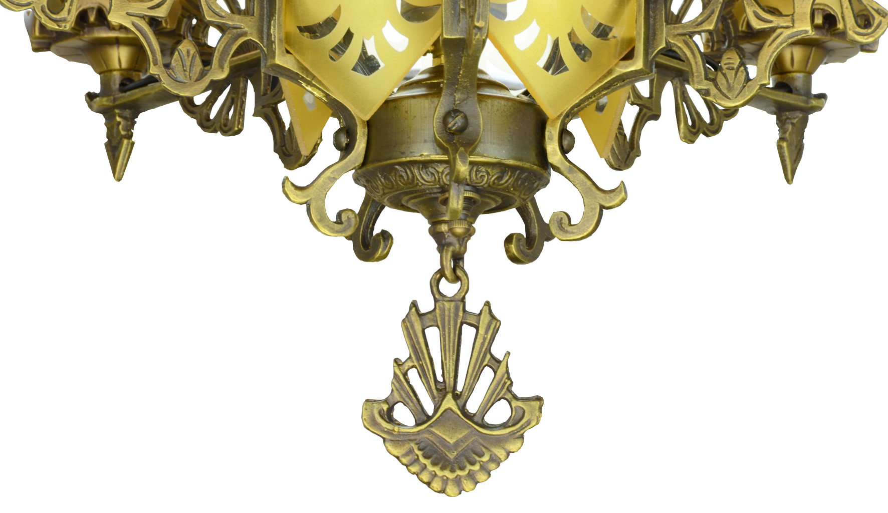 Vintage hardware lighting art deco slip shade chandelier with sold call to request similar arubaitofo Choice Image