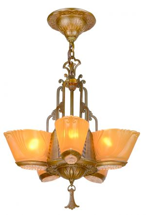 Great Art Deco 5-Shade Chandelier by Virden (ANT-906)