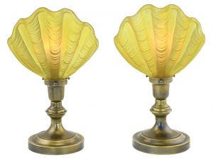 Pair of Art Deco Table Lamps Vintage Clamshell Odeon Theatre Lights (ANT-907)
