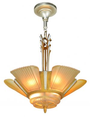 Art Deco Streamline 6 light chandelier by Mid-West Mfg (ANT-910)