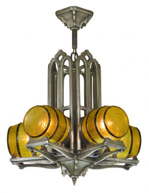 Original Antique Gill Pub Chandelier c1930 (ANT-914)