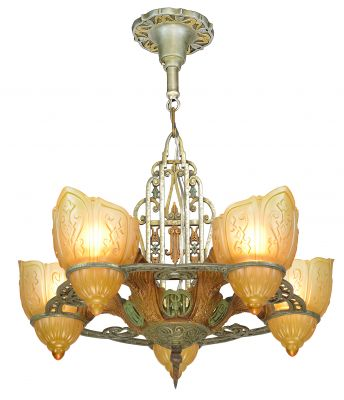 Unusual Five Shade Chandelier Attributed to Riddle C. 1935 (ANT-917)