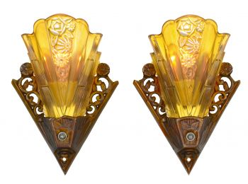 Lovely Pair of Americana Slip Shade Sconces by Virden (ANT-921)