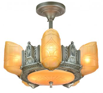 Scarce American Art Deco 6 Shade Chandelier by Estellite (ANT-922)