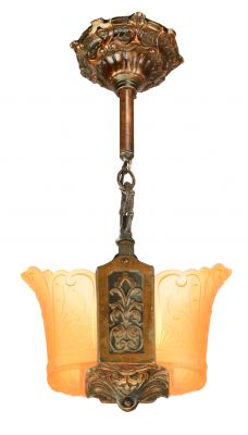 Art Deco Bronze Finish 2 Shade Pendant (ANT-924)