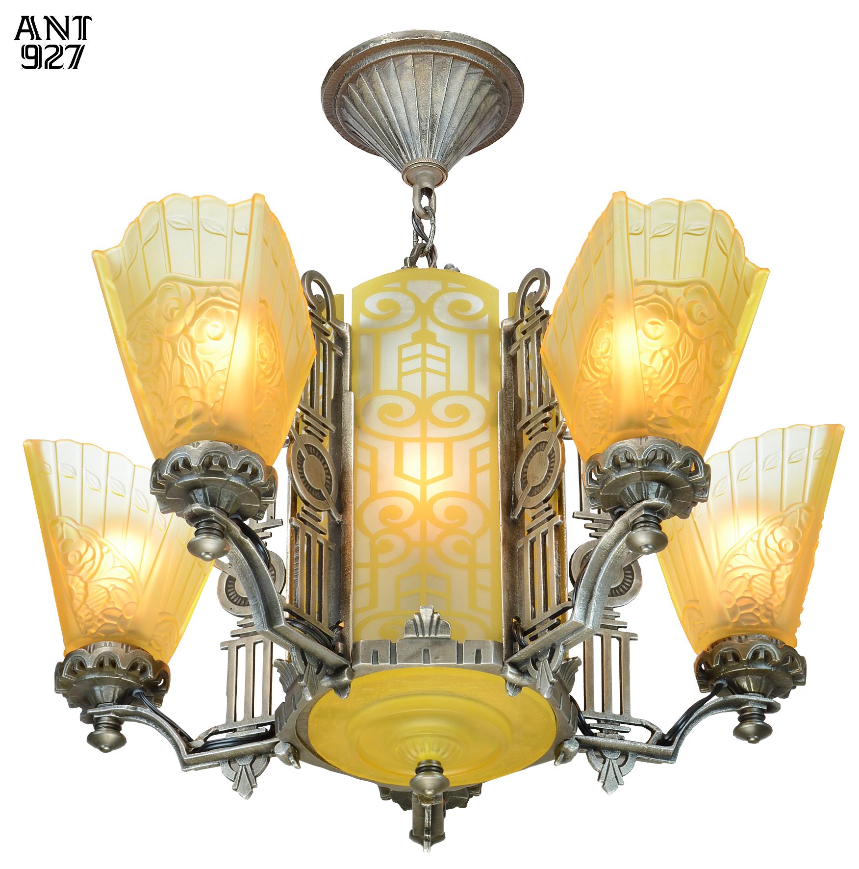 Vintage hardware lighting art deco slip shade chandelier with mgctlbxnmzp mgctlbxv5111 mgctlbxlc aloadofball Gallery