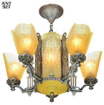 Art Deco Slip Shade Chandelier with Etched  Glass Center Panels (ANT-927)