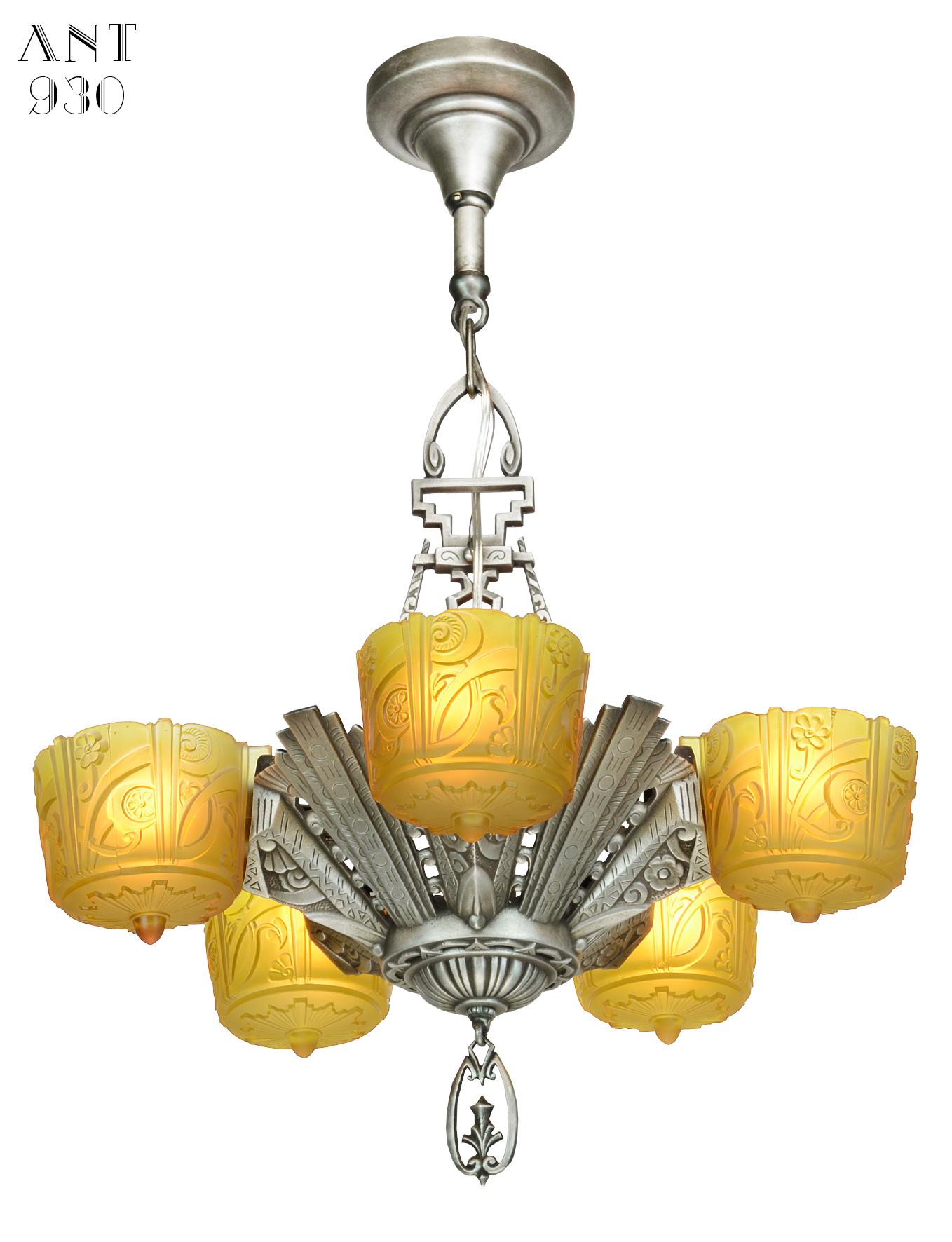 Vintage hardware lighting antique art deco slip shade chandelier mgctlbxnmzp mgctlbxv5111 mgctlbxlc arubaitofo Choice Image