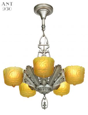 Antique Art Deco Slip Shade Chandelier Made by Lincoln (ANT-930)