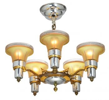 Art Deco Streamline 5 Light Chandelier Attributed to Mid-West Mnf (ANT-931)