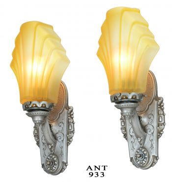 Pair of American Art Deco Sconces with Heavy Cast Glass French Shades (ANT-933)