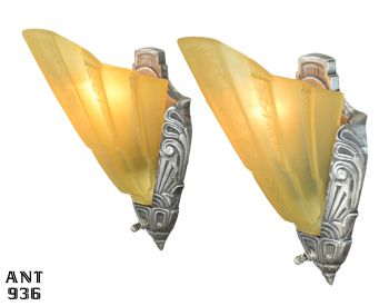 American Art Deco Slip Shade Sconces by Halcolite and Consolidated Glass (ANT-936)