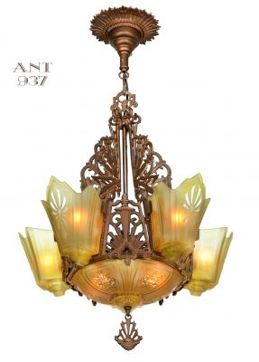 Antique Restored Red-Bronzed Finished Art Deco Slip Shade Chandelier (ANT-937)