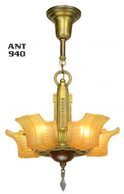 Unusual 5 Slip Shade Art Deco Chandelier by Globe (ANT-940)