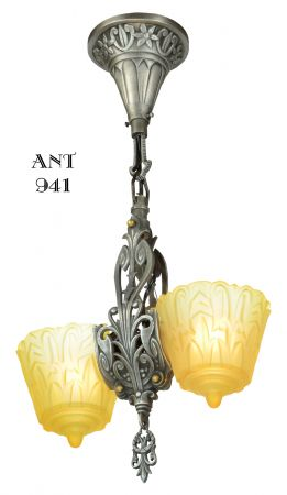 Art Deco Slip Shade Pendant by Lincoln Mnf (ANT-941)