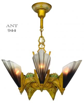 Five Light, Brown Tip Shade, Chandelier by Mid West Mnf 1930 (ANT-944)
