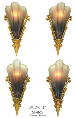 Two Pair Soluere Sconces by Mid West Mnf 1930 (ANT-945)