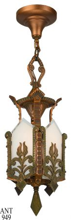 Antiqued Red Bronze Finished Panel Hall Lantern Circa 1920 (ANT-949)