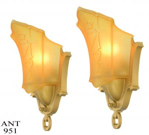 Art Deco Pair of Slip Shade Sconces by Mid West Mnf (ANT-951)