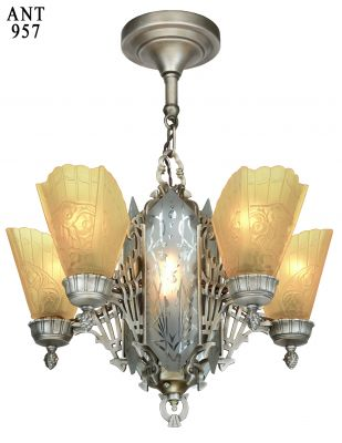 Art Deco Slip Shade Chandelier with Cut Glass Center Panels (ANT-957)