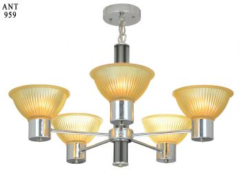 Mid-Century Modern Design Nickel Plated 5 Light Chandelier (ANT-959)