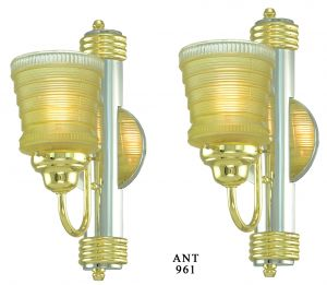 Pair of Striking Streamline Art Deco Wall Sconces (ANT-961)