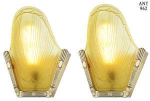 Nice Pair of French Circa 1935 Art Deco Slip Shade Sconces (ANT-962)