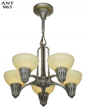 Art Deco Streamline 5 Light Chandelier with Custard Colored Shades (ANT-965)