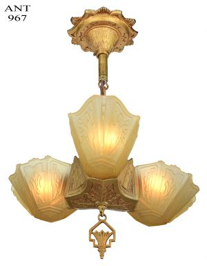 Art Deco 3 Shade Pendant by Markel (ANT-967)