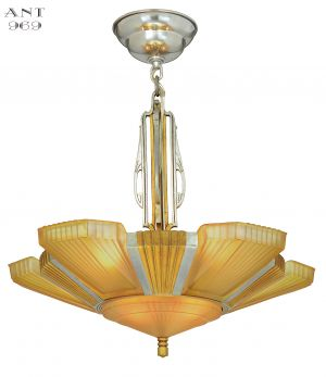 Art Deco Mid-West Mnf. Top-of-the-Line Six Light Chandelier with Original Shades (ANT-969)