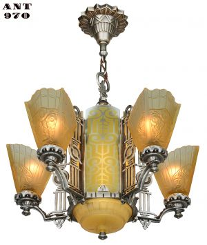 Art Deco Slip Shade Chandelier with Amber Etched Glass Center Panels (ANT-970)