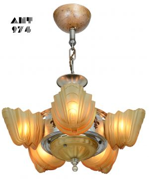 Very Collectible Art Deco Slip Shade 6 Shade Chandelier by Halcolite (ANT-974)