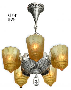 American Art Deco 5 Slip Shade Chandelier by Lincoln (ANT-976)