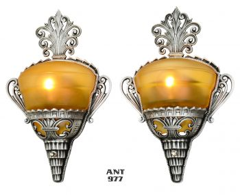 Unusual Pair of Art Deco Slip Shade Sconces with Amber Shades (ANT-977)