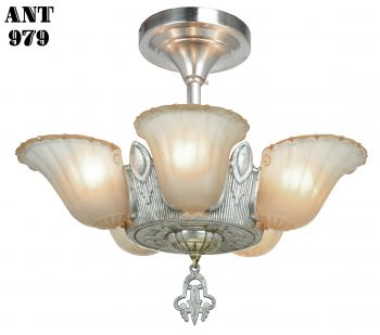 Art Deco 5 Slip Shade Chandelier...Circa 1935 (ANT-979)