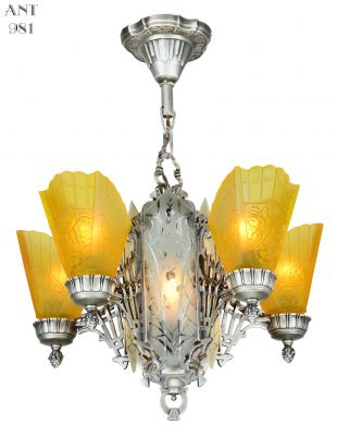 Art Deco Slip Shade Chandelier with Cut Glass Center Panels (a pair is available) (ANT-981-1)