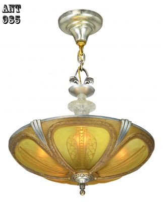 Art Deco Slip Shade Scarce Bowl Chandelier--Circa 1935 (ANT-985)