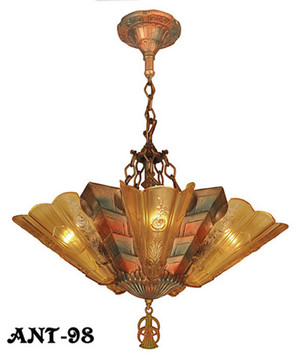 Antique Art Deco Slip Shade Fenwick Chandelier C1933 (ANT-98)