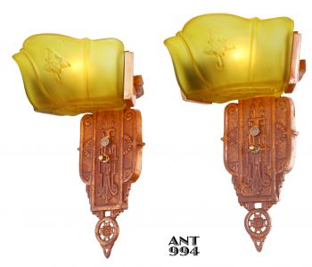 Pair of Art Deco Wide-Slip-Shade Sconces by Markel (ANT-994)