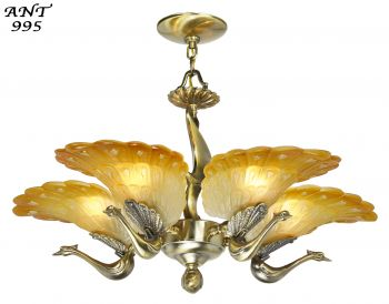 Striking Peacock 5 Arm Chandelier (ANT-995)