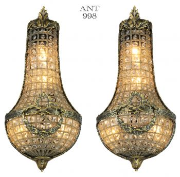 Lovely Pair of Older French Crystal Wall Sconces (ANT-998)