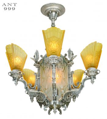 Fantastic Eagle Motif Art Deco Slip Shade Chandelier with Cut Glass Center Panels (ANT-999)