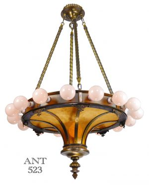 Bare Bulb Large Antique 17 Light Ceiling Chandelier with Mica Panels (ANT-523)