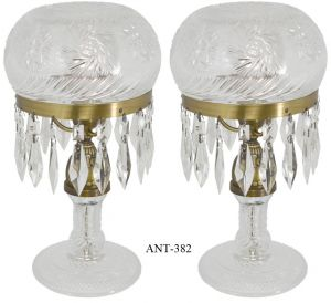 Pair-of-Cut-Glass-Mushroom-Lamps-(ANT-382)