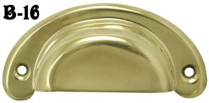 Stamped Brass Rounded Bin Pull (B-16)