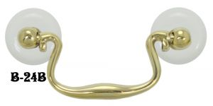 "Swan Neck Bail Handle With Porcelain Washers 3"" Boring (B-24B)"