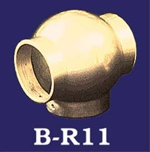 "Vintage Style Brass Ball ""Tee"" for a T-Connection with 2"" Bar Rail (B-R11)"