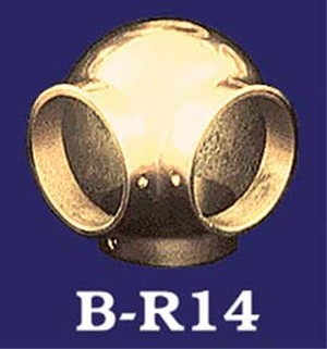 Brass Bar Rail Ball Side Outlet-3 Rails At 90' (B-R14)
